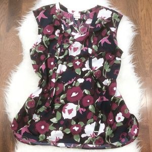 Merona Floral Sleeveless Tie-Front Shell Top XL